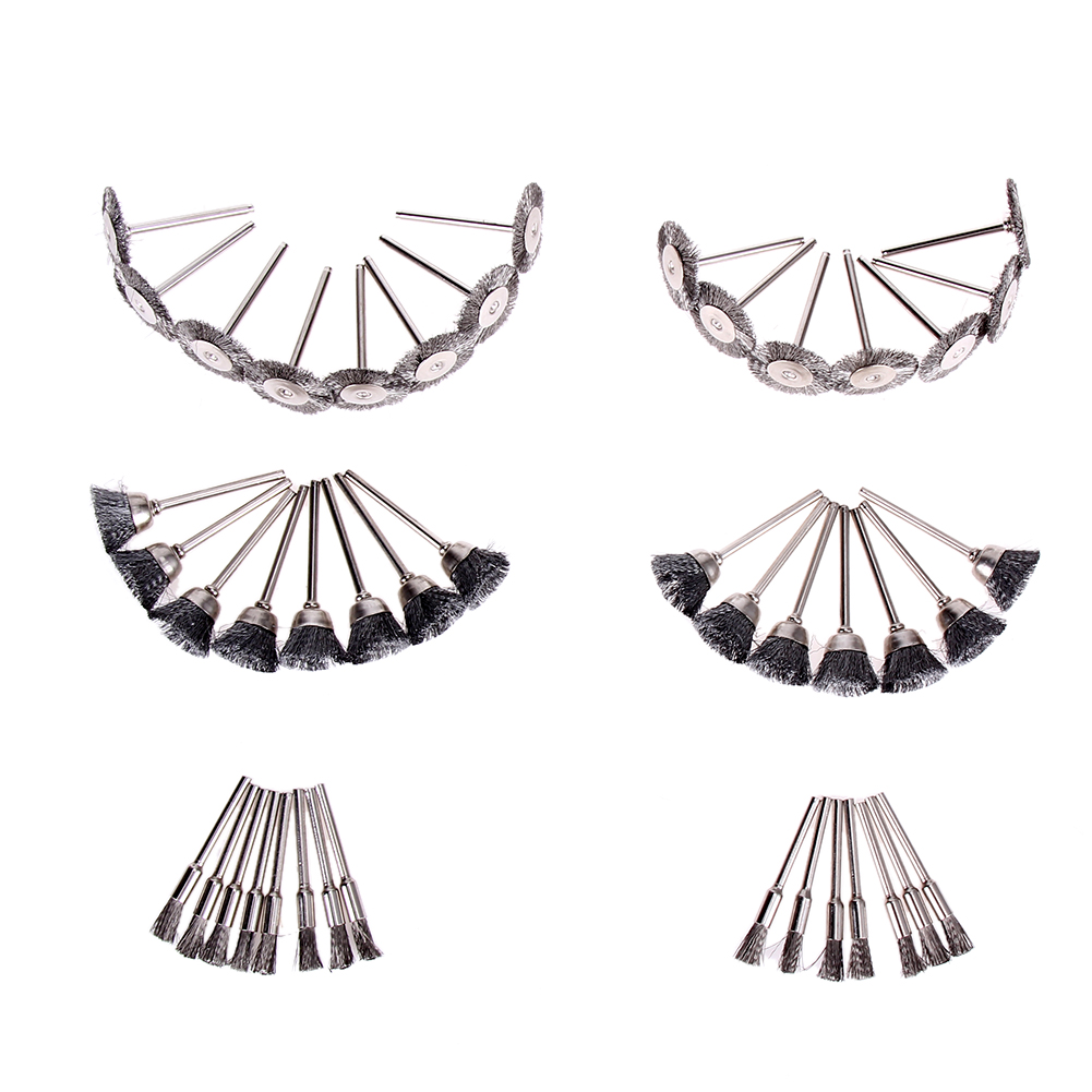 45Pcs Wire Wheel Feather Steel Brushes Cup Set Kit Accessories Rotary Tool Steel wire brush deburring brushed wheel dental kerr finishing polishing assorted kit occlubrush cup brushes 1set