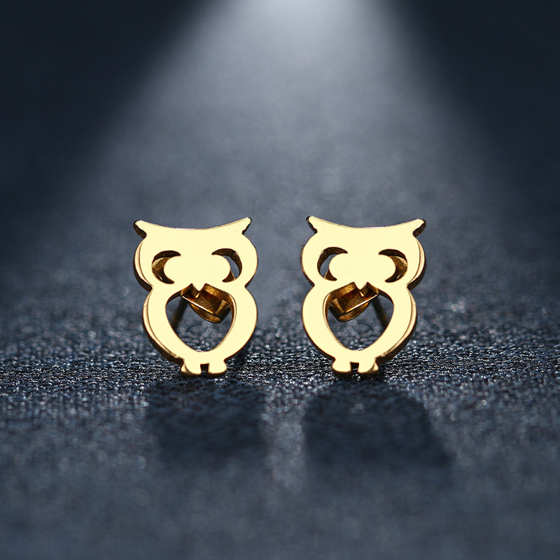 CACANA Stainless Steel Stud Earring For Women Man Owl Gold And Silver Color Lovers Engagement Jewelry Drop Shipping