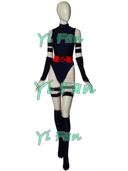 X men Psylocke Cosplay Costume Navy Blue Superhero Costume Spandex Girl Catsuit Halloween Costumes for woman Custom Made