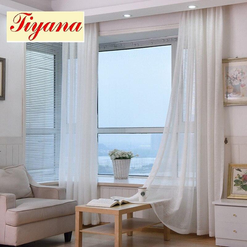grueso de algodn de lino cortinas de tul pura decorativo hotel moderno europeo de moda blanco