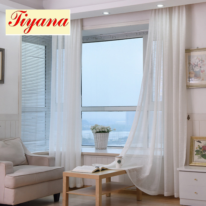 Thick Cotton Linen Tulle Curtains Decorative Hotel Modern Fashionable  European Sheer White Blue Pink Yellow Coffee