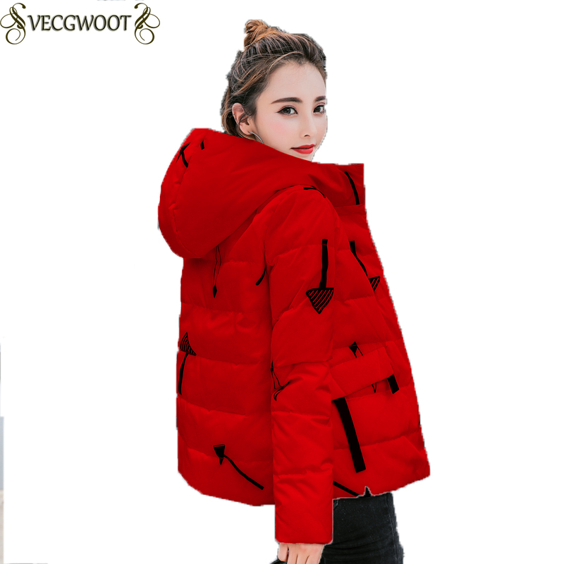 S-3XL Winter Down Jacket Short Jacket 2018 New Hood Slim Red Print Parkas Coat Warm Comfortable Jacket Female Outerwear WYT284