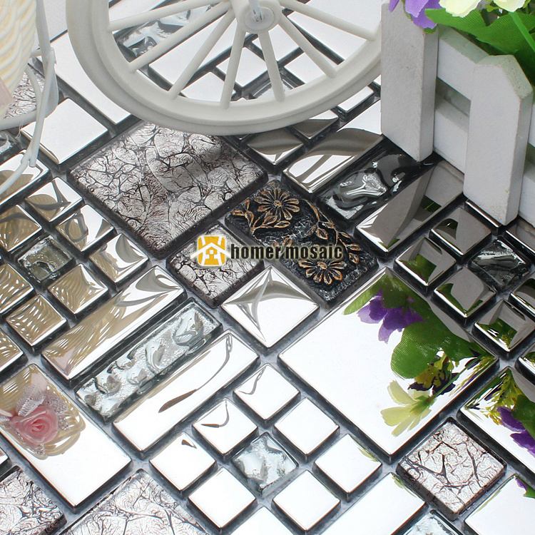 Silver Resin 3d Carved Flower Stainless Steel Glass Mosaic Tile Hmgm2036c Backsplash Diamond Glass Mosaic Kitchen Wall Tile