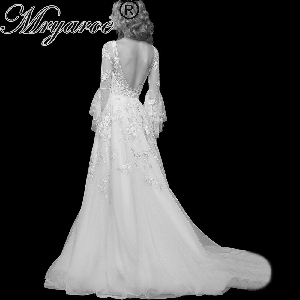 Glitter Wedding Gowns: Mryarce Open Back Wedding Dress 2019 Scoop Neck Glitter