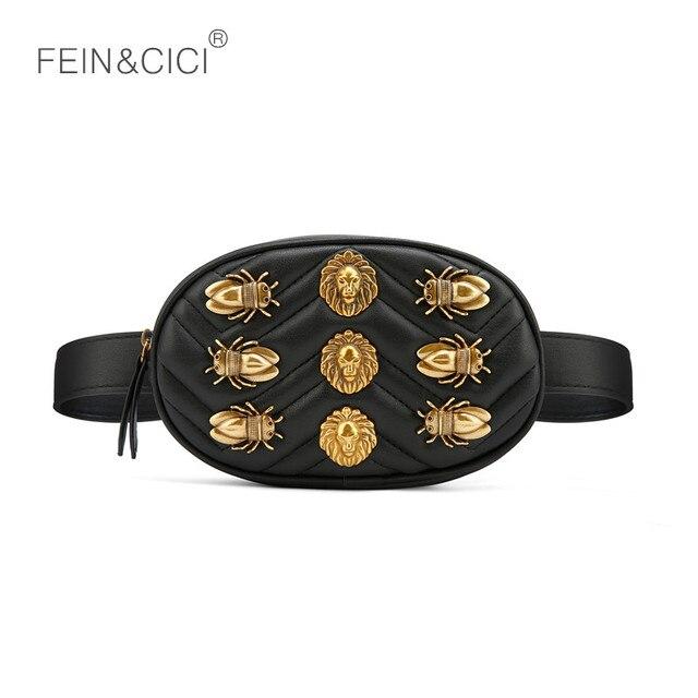 chest bag women circle cicadas lion Waist Packs round belt bag luxury brand fashion leather handbag red black 2018 hight quality