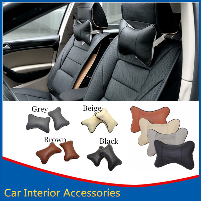 2 PCS Perforating Design Seat Pad Danny Leather Hole digging Car Headrest Neck Pillow Safety Auto