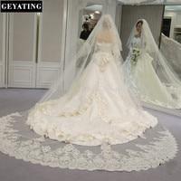 Velos De Novia 3 Metros 2T White Ivory Sequins Blings Sparkling Lace Edge Purfle Long Cathedral