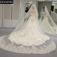 Velos De Novia 3 Metros 2T White Ivory Sequins Blings Sparkling Lace Edge Purfle Long Cathedral