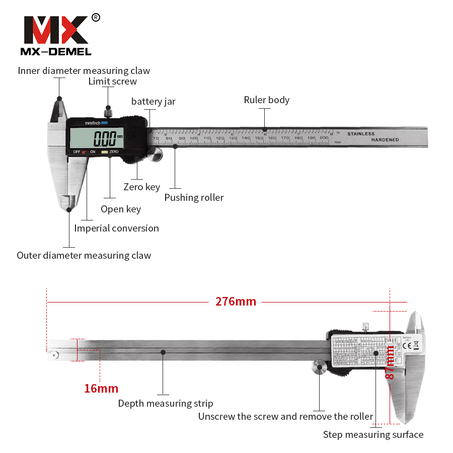 mx demel 0 100 150 200 300mm black electronic digital vernier caliper display stainless steel caliper measuring tool ruler in calipers from tools on  [ 900 x 900 Pixel ]
