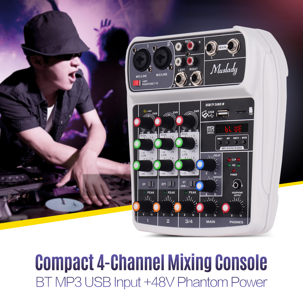 Muslady AI-4 Kompakte Soundkarte Mischen Konsole Digital Audio Mixer 4-Kanal BT MP3 USB Eingang + 48V phantom Power für Musik