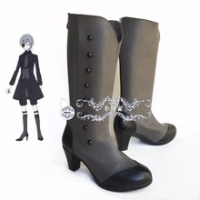 Venta caliente anime Negro Mayordomo Ciel Phantomhive cosplay shoes boots Por Encargo de Halloween cosplay