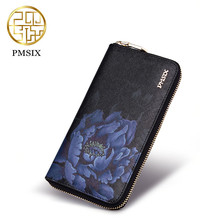 Pmsix New Cow Leather Woman Wallet Brand Long section Printed flowers  Ladies Purse  Elegant Clutch Portefeuille Femme