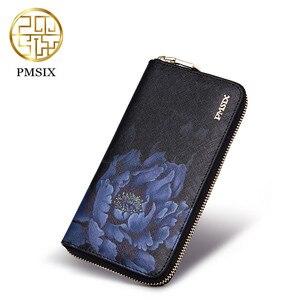 Image 1 - Pmsix yeni inek deri kadın cüzdanı marka uzun bölüm baskılı çiçekler bayanlar çanta zarif debriyaj Portefeuille Femme