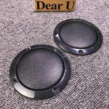 JEAZEA Universal 2PCS 3″ Inch ABS Black Audio Speaker Cover Circle Metal Mesh Grille Trim Protection for Audi Honda VW Ford Kia