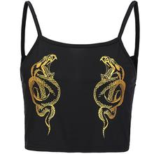 Fashion Dragon Snake Printed Camisole Crop Top Women Sexy Sleeveless Strap Vest new(China)