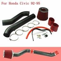 Air Intakes Aluminum Pipe For Honda Civic 92 95 Cold Air Intake Air Filter Black & Chrome with 2.75inch Air Filter YC100687