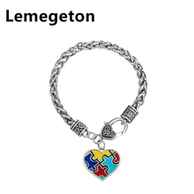 Lemegeton Heart Square Cross Jigsaw Pendants Necklace Red Blue Yellow Azure Four Color Pendant Jewelry for Men and Women
