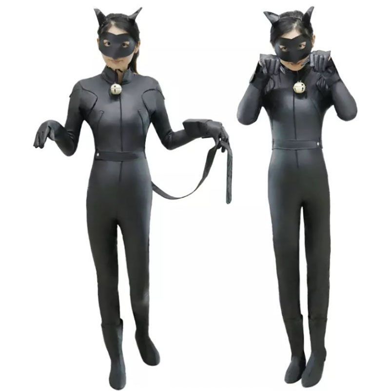 Black <font><b>Cat</b></font> <font><b>Noir</b></font> <font><b>Ladybug</b></font> Tale <font><b>Costume</b></font> Catsuit For Kid Girls Mask Bodysuit Cosplay Party Jumpsuit Tail For Child Baby Halloween image
