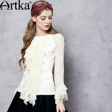 Artka Women's Autumn New 2 Colors Lace Patchwork Slim Fit Shirt Fashion O-Neck Long Sleeve Comfy Blouse With Ruffles ZA10957Q