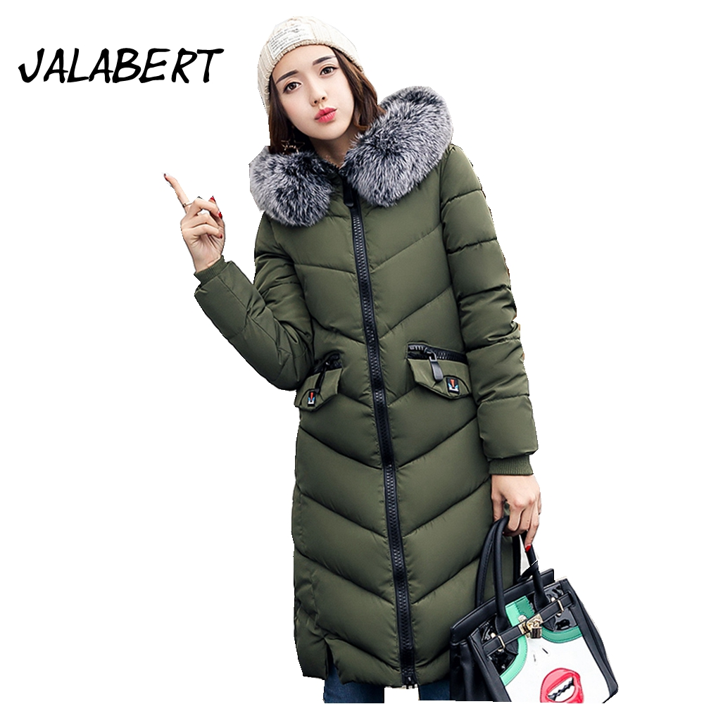 2017 winter new women big Fur collar long feather cotton thick sleeve jacket female hooded pocket zipper warm parkas coat 2017 autumn winter new thick women long slim warm cotton big fur collar coat female zipper hooded parkas jacket