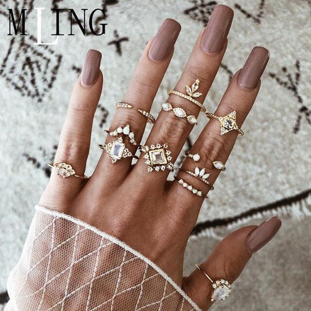 MLING 12 Pcs/Set Vintage Gold Crystal Geometric Rings Fashion Square Water Drop Crown Opal Ring Set For Women