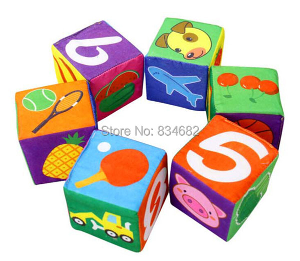 J.G Chen 6pcs/lot with Box Package New Infant Baby Girl Boy 7cm Cloth Building Soft Blocks 3g Block Toys Baby Toy Rattles Set