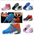 Novos Meninos Meninas Sapatos Rodas Jazzy Júnior Adulto Luz LED Crianças Sapatilhas Crianças Sapatas Do Patim De Rolo Com Uma Única Roda, 6 Estilo