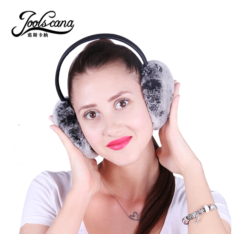 Joolscana Fur Earmuffs Winter Warm Earmuffs Real Rabbit Fur Earmuff For Girl Women New Brand High Quality