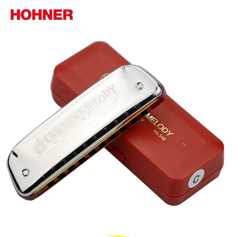 Hohner Golden Melody 10 Hole Diatonic Harmonica Blues harp Gaita Standard 10 Hole Harp with Red