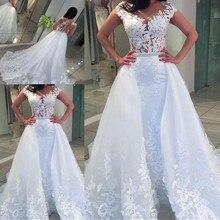 SexeMara White Lace Tulle Wedding Dress Sleeveless Sheer