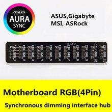 Hub asus placa mãe aura 12v, 4 pinos, interface rgb 1 10 controlador, ventilador, regulação hub, suporte msi, gigabyte, asrock