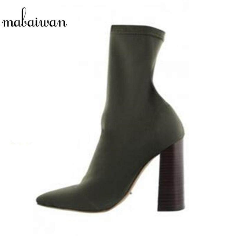 2017 nieuwe vierkante hak stretch stof vrouwen botas sok enkellaars zwart groen hoge hak schoenen vrouw botines mujer vrouwen pompen