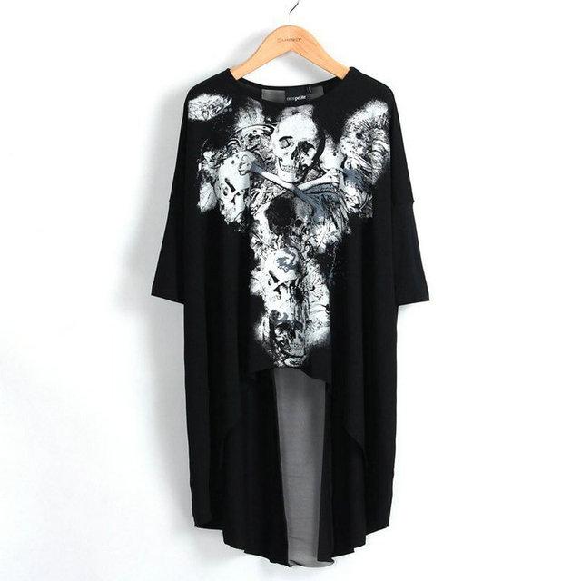 Européenne Mode femmes style punk rock crâne imprimer Longue Noire T-Shirts sexy tops tee queue t-shirt camisetas mujer femme vêtements