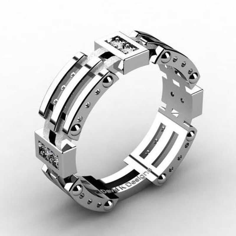 3 יח'\סט זוג אהבה אירוסין אצבע טבעות גברים נשים יוקרה חלק כסף צבע נישואים לערום טבעות תכשיטי Z5N997