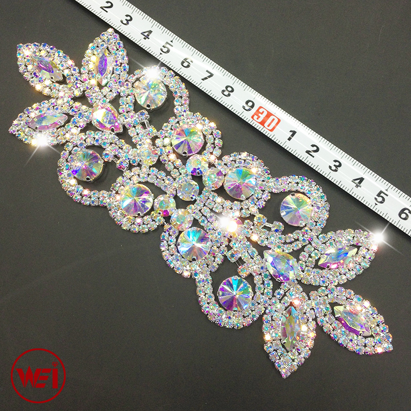 18cm Silver Base Crystal AB DIY Wedding Evening Dress Sewing On Rhinestone Applique
