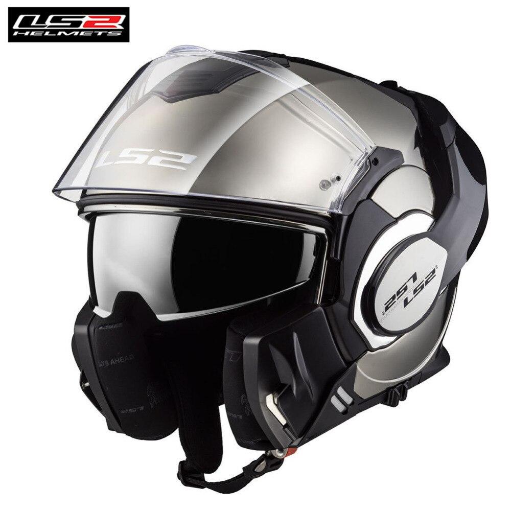LS2 Vaillant Casque de randonnée Plein Visage Flip Up Moto Casque Modulaire Casque Capacete Casco Moto Helm Casques Kask Café Racer
