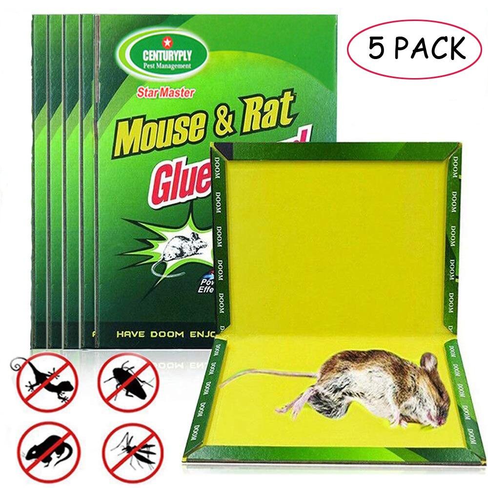 5 adet fare kurulu yapışkan fare tutkal tuzağı yüksek etkili kemirgen sıçan yılan Bugs yakalayıcı haşere kontrolü reddetmek toksik olmayan çevre dostu