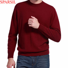Sparsil Man s Cashmere Sweaters Blend Winter Autumn O Neck Long Sleeve Pullovers Soft Warm Knitwear