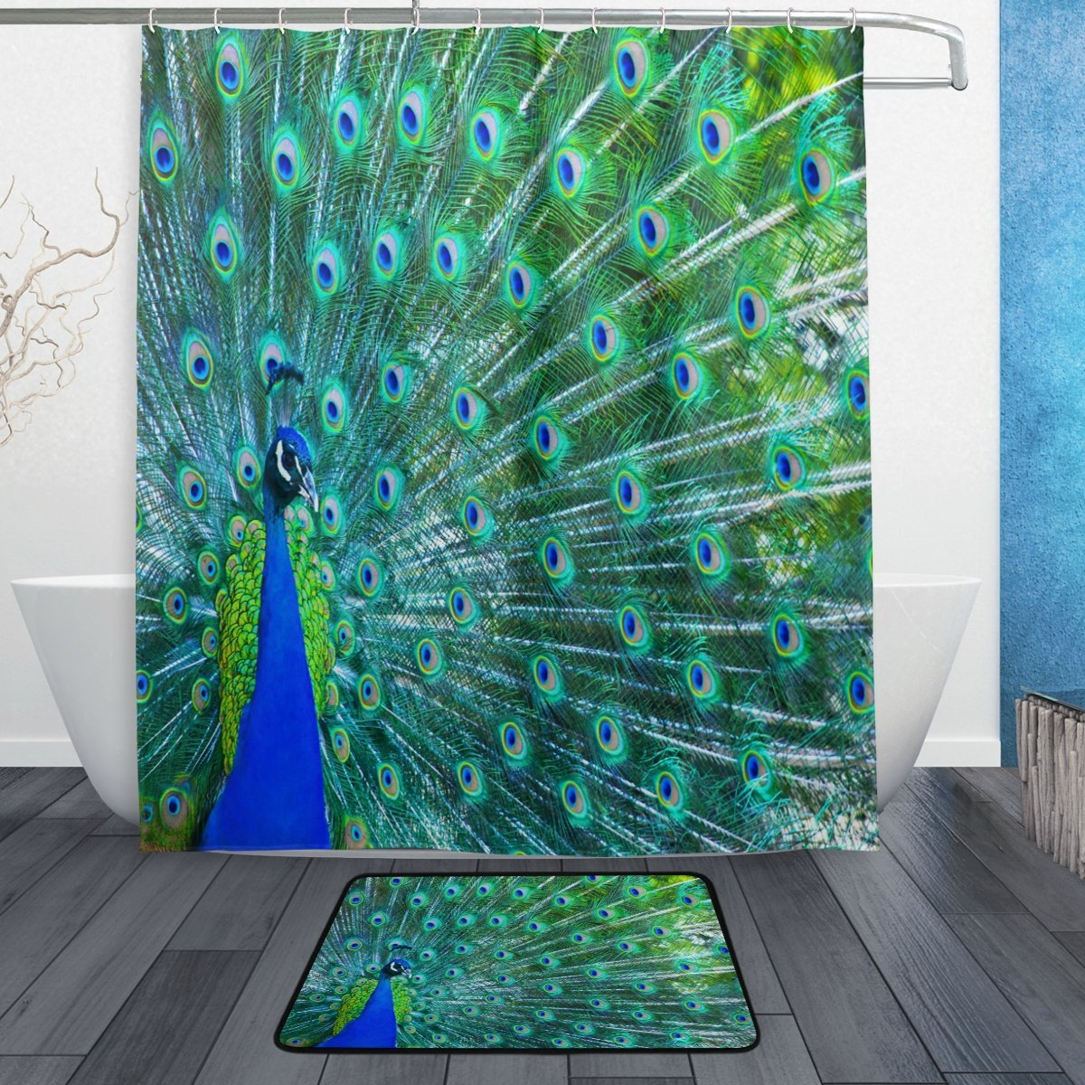 Beautiful Peacock with Feather Waterproof Polyester Fabric Shower Curtain with Hooks Doormat Bath Floor Mat Bathroom Home Decor