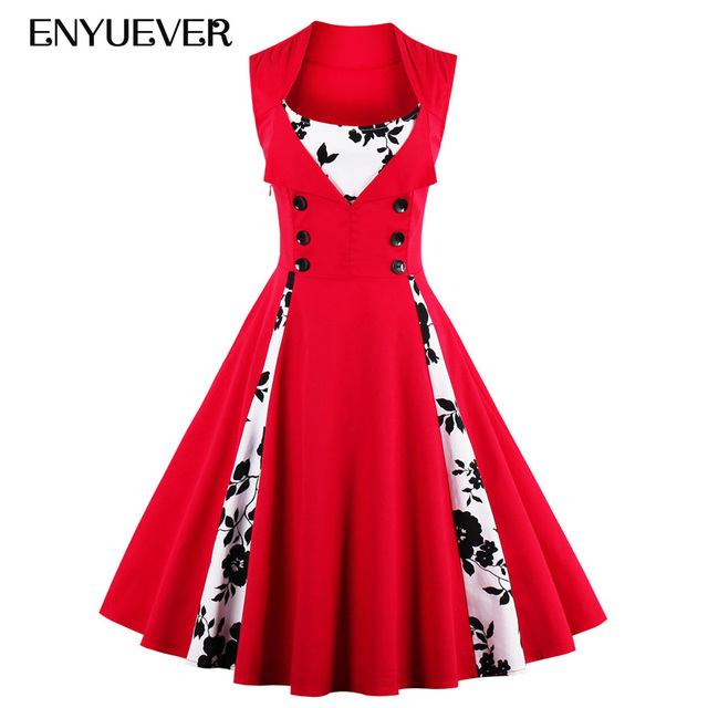 Enyuever Plus Size Vintage Dresses 50s 60s Robe Pin Up Big Swing Floral Dot  Rockabilly Party Dress Elegant Women Clothing 5XL 817c06fb3ec6