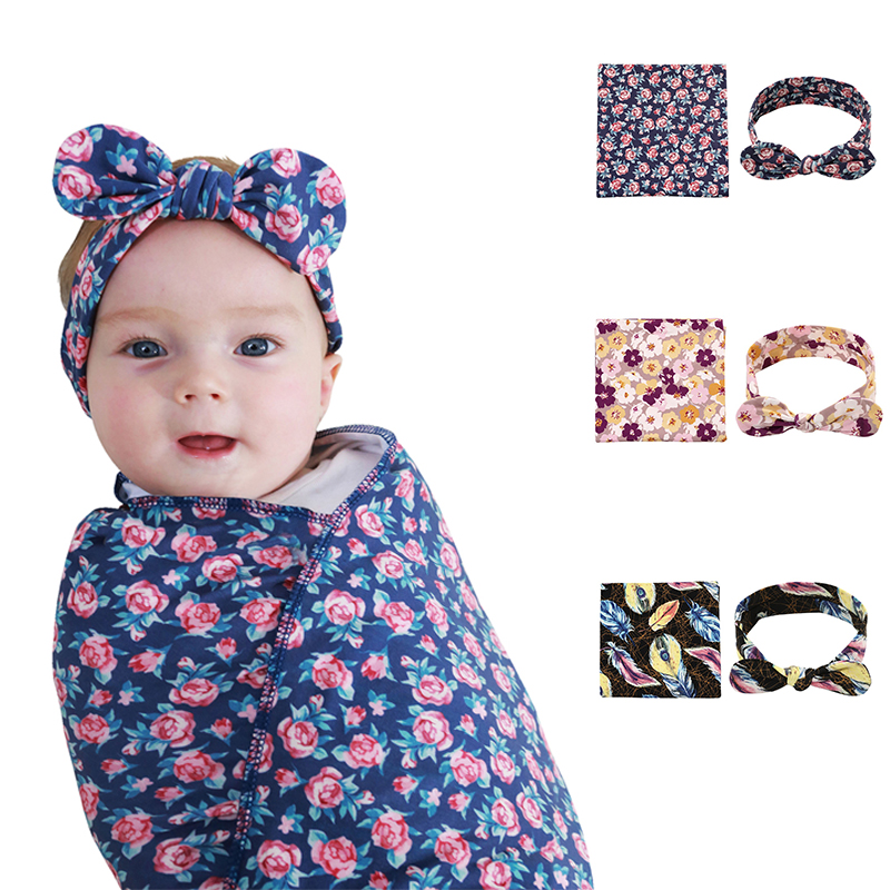 Newborn Baby Swaddle Blanket And Headbands Soft Set Floral Wrapping Reception Blankets For Girls And Boys