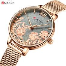 CURREN Elegant Womens Watch Grey Flower Slim Analog Rose Golden Mesh Steel Bracelet Watches Lady Dress Quartz Reloj Mujer Clock