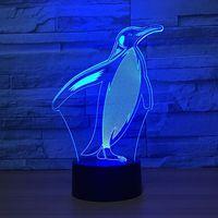 Sevimli Penguen Şekil 3D masa lambası Renkli USB ve Pil Şarj 3D Ev Dekorasyon Için led Işık