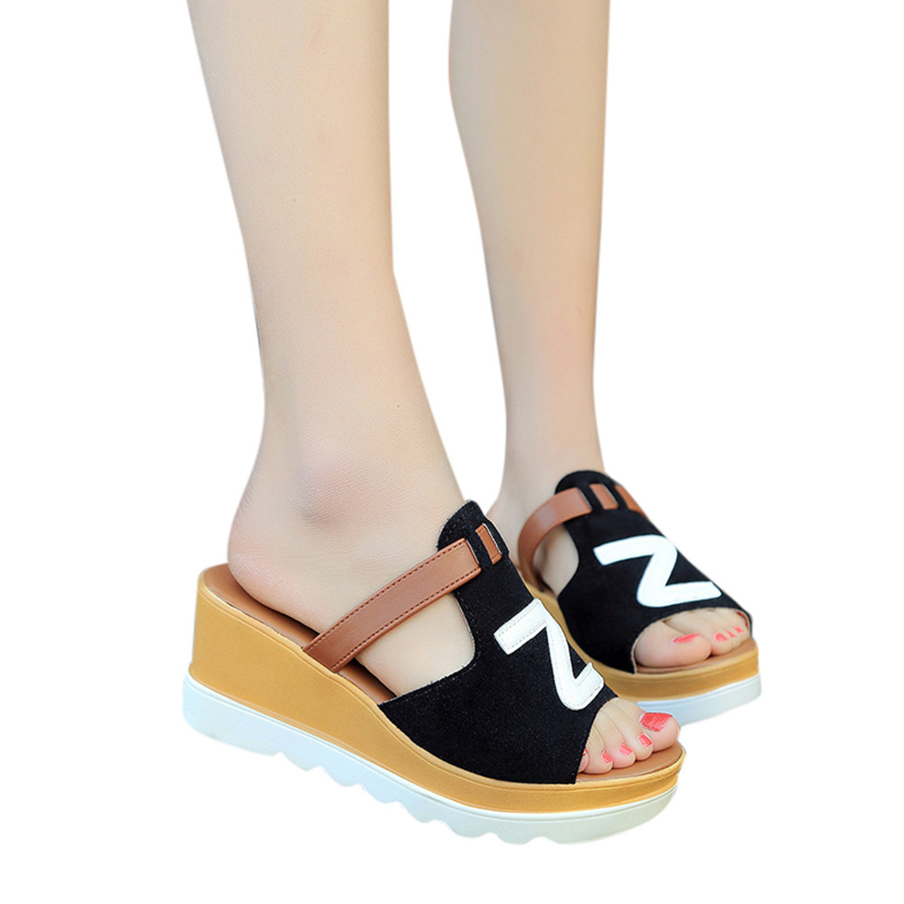 2018 New Summer Style Women Solid Color Wedges Peep Toe Flatform Slippers Sandals Fashion Casual Shallow Slides Outside Shoes