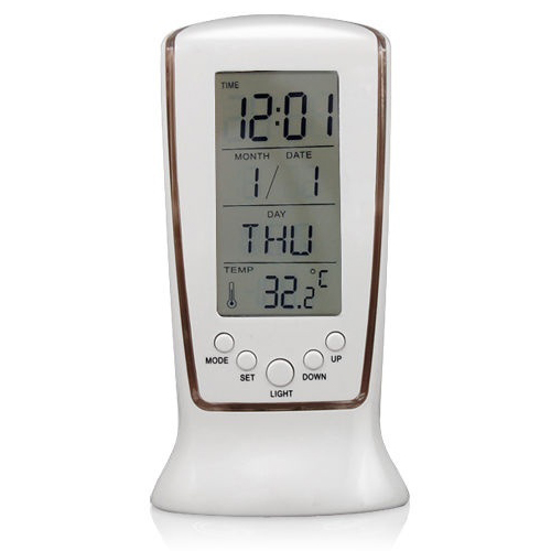 New Intelligent Home Furnishing Digital LED Backlight LCD Display Table Alarm Clock Thermometer Calendar White