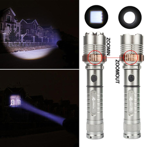 Image 4 - Powerful LED Flashlight With Attack head Self defense Torch Support zoom 5 lighting modes Powered by 18650 battery with compass