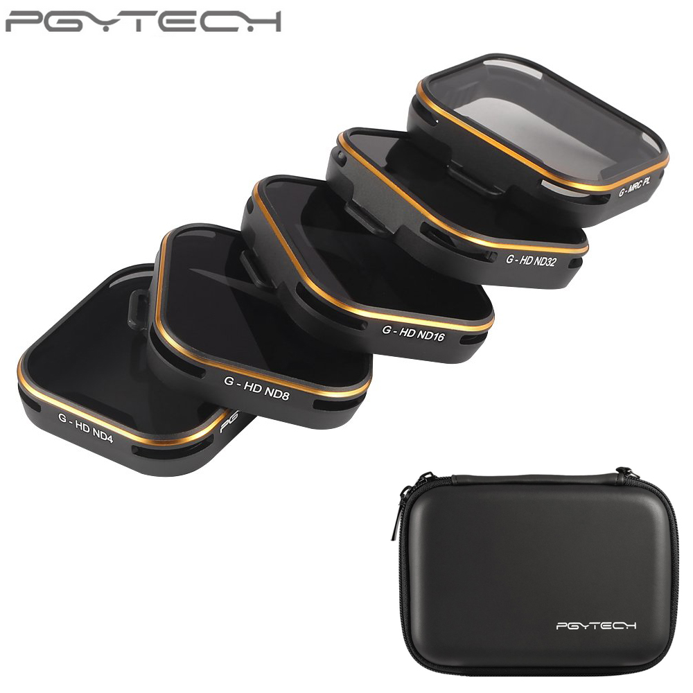 5 шт./компл. pgytech объектив Фильтры HD ND4 ND8 ND16 nd32 mrc pl для GoPro Hero 5 Камера