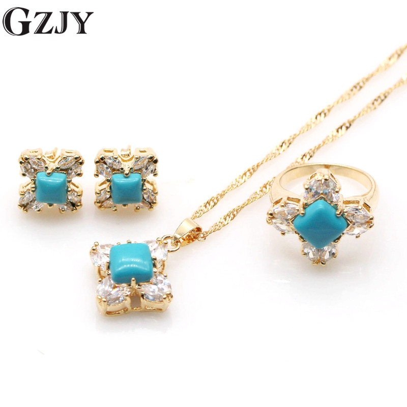 Vintage Delicate Jewelry Set Champagne Gold Color Natural Blue Stone CZ Pendant Necklace Earring Ring Set I13-1