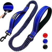 Reflective Dog Leash Nylon Bungee Elastic Dogs Lead Rope Army Tactical Pet Leashes Belt For Large Dogs Walking Jogging 2 Handles