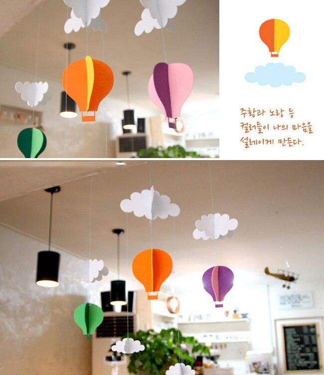 3d Felt Hot Air Balloon Baby Shower Non Woven Cloud Banner Birthday